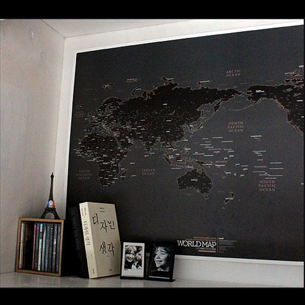Black World Map Poster World Map Poster