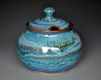 25% Off Seconds Blue Sugar Bowl Pottery Jar Ceramic Jar F
