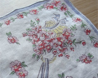 Vintage 40s Handkerchief   Subtly Sheer Cotton Hanky   Flower Baskets Bonnets Bows Pink   White & Periwinkle