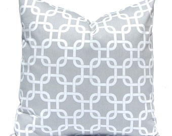Decorative Throw Pillow Covers Gray Chain Link ONE Decorative Pillow Cover Accent Pillows 24 x 24 Inches Gray or Grey on White