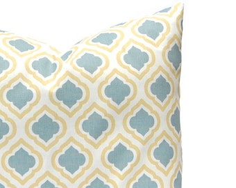 Pillows, Decorative Throw Pillow Cover, Home Decor Blue Gray and Gold Ikat Cushion Cover Toss Pillow One All Sizes Blue Gray Gold Yellow