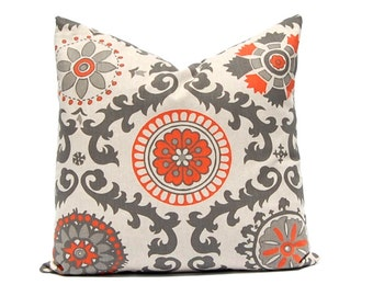 Orange Pillow, Throw Pillow Cover, Pillow Cover, Decorative Pillow Cover Orange Taupe on Linen Cushion Cover Fall Pillows Suzani Pillow