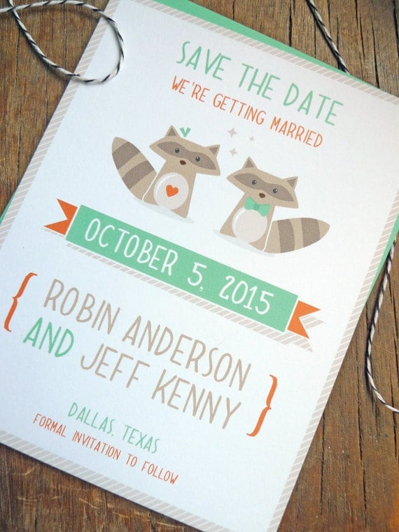 Nature Save the Dates, Whimsical Raccoon Save the Date Wedding Invitations, Raccoon Couple Wedding