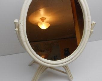 Vintage Mirror  White Wood Vanity Tilt  Mirror on Stand