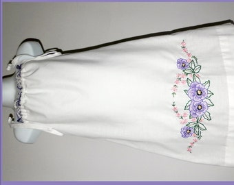 Girl's dress sz 5 embroidered vintage pillowcase white w purple & pink flowers hand made from vintage pillowcase