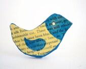 Blue Bird brooch pin, paper mache jewelry, animal brooch, eco friendly jewelry, book jewellery