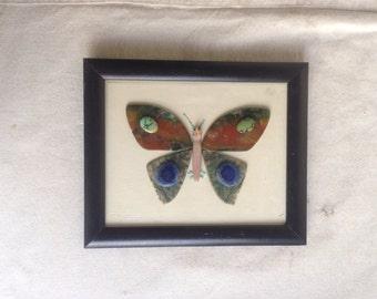 Vintage hand made butterfly art. Semi-precious gem butterfly art