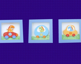 Dinosaur Square Cute Hand painted Wall Hanging Set