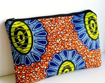 Oversized African Wax Print Fabric Clutch Purse, Large Clutch