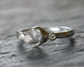Raw Diamond Engagement Ring Sterling Silver Cut Diamond Accents