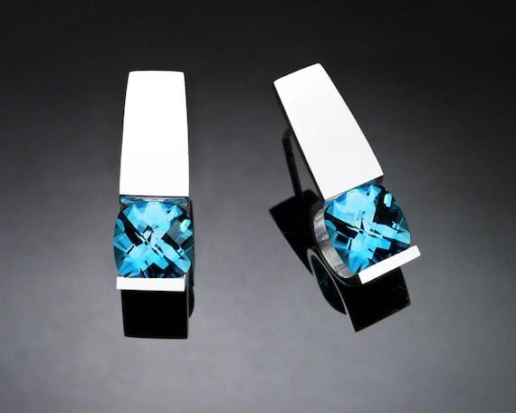 blue topaz earrings, Swiss blue topaz, Argentium silver, December birthstone, wedding earrings, contemporary jewelry - 2431