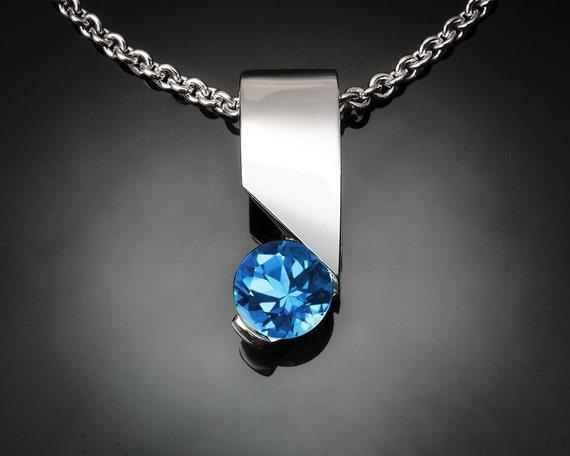 blue topaz necklace, Swiss blue topaz, modern necklace, December birthstone, Argentium silver, tension set - 3460
