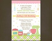 Baking Party Birthday Invitations, Printable File, Baking Birthday, Cookies, Cupcake Decorating, Pink and Green, Plaid, Cooking Party