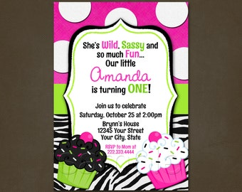 Cupcake Zebra Print Birthday Invitation Printable File, Hot Pink, Polka Dots, Wild