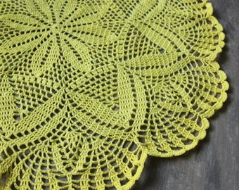 extra large Crochet doily, lace doily, table decoration, crocheted place mat Photography prop doily tablecloth, table runner, napkin, yellow