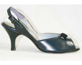 Size 5 Navy Shoes - Sassy 50s Dark Blue Open-Toe Slingbacks with Deco Detail - Heels - Deadstock - Summer - Sophisticated - Svelte - 40266-1