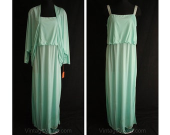 Size 12 1970s Evening Dress - Seafoam Green Formal - Large 70s Glamour Jersey Gown & Cocoon Jacket - Rhinestones - New With Tag - 34863