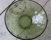 hazel atlas eldorado bowl dot pattern green glass bowl  vegtable bowl 9 inches mid century