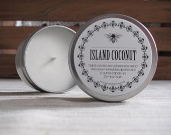 Island Coconut Soy Candle Tin, 6 oz. hand poured soy candle with an irresistible summer scent