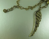 Angel Wing Necklace, Stations Necklace, Mykonos Ceramic Beads, Etched Brass Chain, Brass Pendant, 33 in/84cm, Adjustable Length