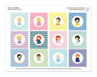50% Off Sale! - PRINTABLE Princess Party Circles - All Princesses - INSTANT DOWNLOAD