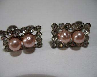 Vintage TRIAD Screwback Earrings with Pink Faux Pearls and Rhinestones