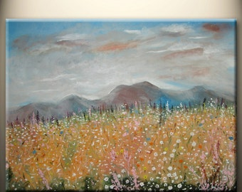 art acrylic painting original, office home decor, wall art, clouds mountain flowers, 18x24inch stretched canvas, ready to hang