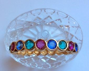 Swarovski Swan Crystal Bracelet - Sapphire, Fuchsia, Emerald Jewel Colors