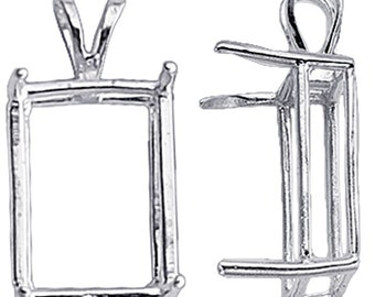 Sterling Silver  Octagon / Emerald ReadySet Basket Pendant Mounting, 4-Prong