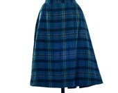 60's Blue Plaid Schoolgirl Skirt size Medium/Large
