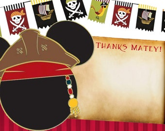 Mickey pirate thank you notes, diy print thank you notes pirate, mickey mouse thank you cards, diy thank you cards,mickey mouse pirate party