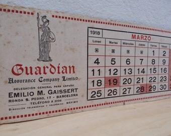"Spanish Vintage Calendar Almanach ""Guardian"" Page  MARCH 1918"