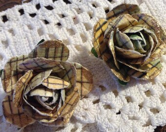 Yellow and Gray Plaid Paper Flower Post Earrings