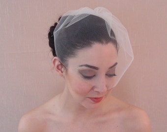Bridal tulle birdcage veil in ivory, off-white, white, blush, champagne, or black - Ready to ship in 3-5 days
