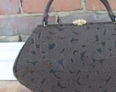 Vintage Lewis Crown Brown Tapestry Purse Handbag, 1970s