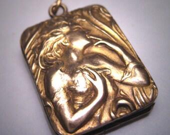 Rare Antique Art Nouveau Gold Locket Victorian Woman