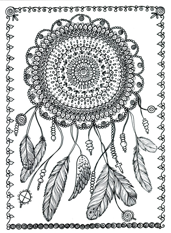 adult coloring pages dream catchers - instant download dreamcatcher digital file adult coloring