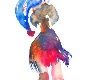 Unique Home Decor Original Modern Watercolor Figure Painting - 154