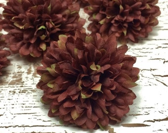 Set 3 Brown Ball Mums - 2.75 Inches - Artificial Flowers - Chrysanthemums