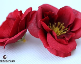 Silk Flowers - 12 Small DEEP RED Roses - Artificial Flowers - Artificial Roses, Hair Accessories, Flower Crowns