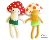 Mushroom Toadstool Doll Softie Sewing Pattern PDF Ragdoll Stuffed Toy