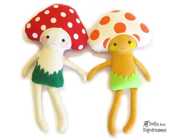 Mushroom Toadstool Doll Softie Sewing Pattern PDF Ragdoll Stuffed Toy