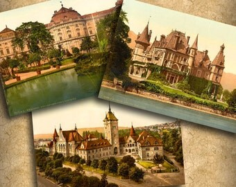 Vintage Castle Postcards ATC ACEO Printable Download 2.5 x 3.5 Digital Collage Steampunk Backgrounds Jewelry Cards English Ephemera