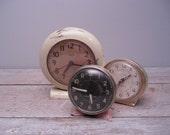 vintage pink westclock / 1950s windup clock / non working / display