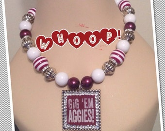 Texas A&M Gig'em Aggies on Beaded Necklace