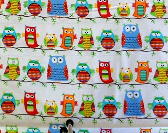 Owl Fabric 100% Cotton Organic Material Owls on a Branch  Timeless Treasures