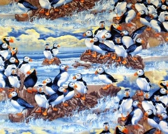 Three quarter yard Puffins Cotton Fabric  Cotton Material , Timeless Treasures