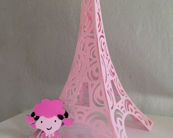 """Gorgeous combo 3D Eiffel Tower DIY and embellished Pink Poodle 2.5"""" - centerpiece - baby girl shower -  parisian theme - cake topper"""