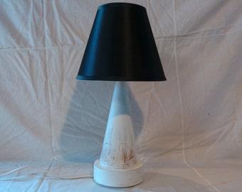 Shabby Chic Cone Shape Lamp Hand Painted  Matte White Over Terra Cotta