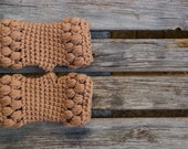chunky crochet fingerless mittens gloves mocha brown arm warmers wrist winter fashion puff stitch christmas - the girtab line